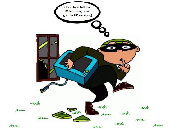 burglar running away with hd tv