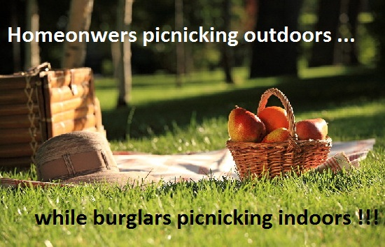 homeowners picnicking outdoors while burlgars picnicking indoors photo warning message