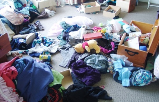 messy room after a burglary