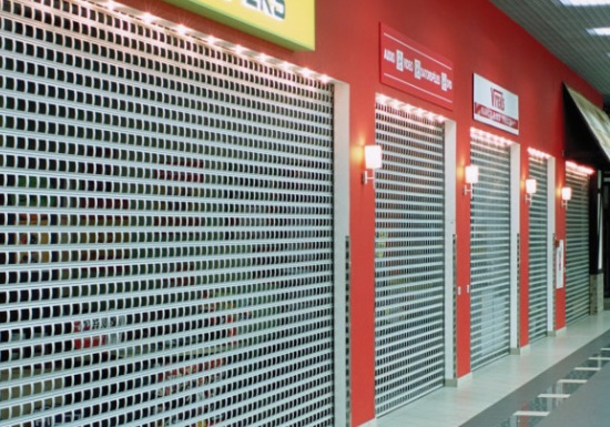 commercial roller shutters in a shopping mall in Essex