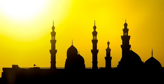 silhouette of an islamic centre