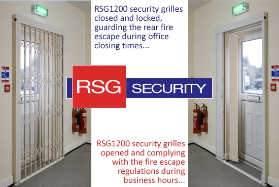 RSG1200 security grilles fitted on an office fire exit without compromising on building fire escape regs
