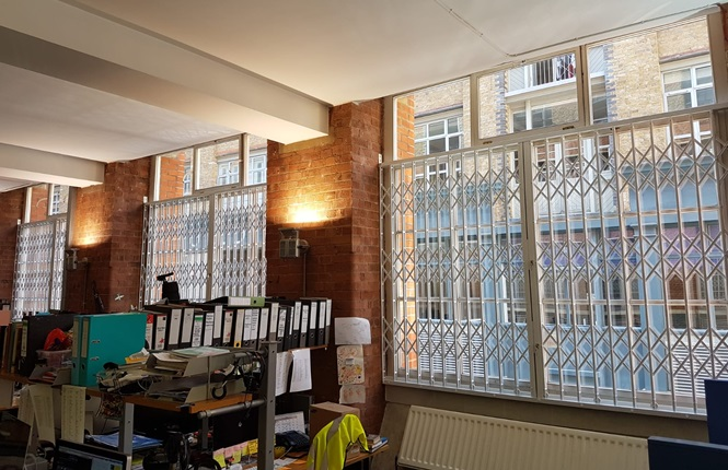RSG1000 high security window grilles securing award winning tv company in Shoreditch, Central London.