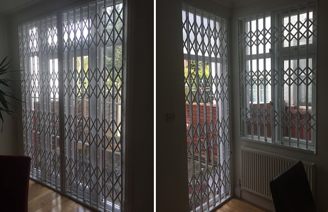 RSG1000 retractable security grilles fitted to a domestic premises in North London.