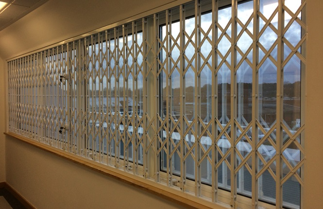 RSG1000 retractable security grilles fitted to commercial enterprise in Borehamwood.
