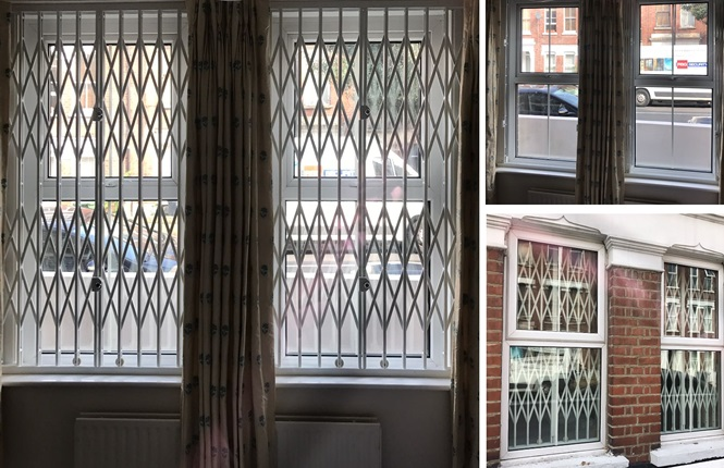 RSG1000 retractable security window grilles fitted in Harlow.