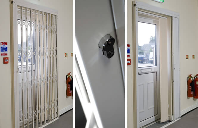 RSG1200 LPS1175 SR1 security door grille installed on an fire exit in an office in Hertfordshire.