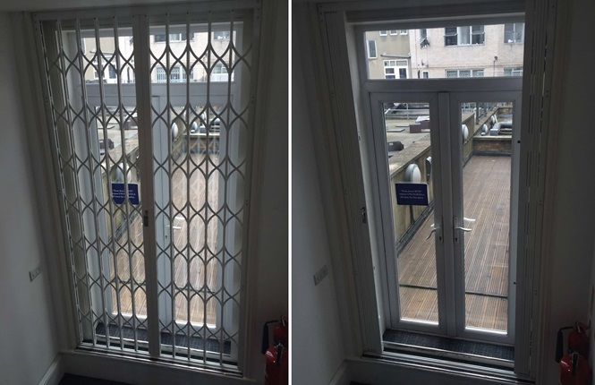 RSG1200 LPS1175 SR1 door security grille fitted to a residence in South Kensington.