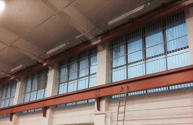 RSG2000 commercial bars securing an industrial warehouse in South London.
