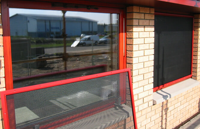 RSG2200 window shields securing new commercial units in Middlesex.