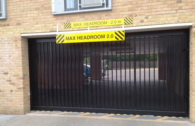 RSG3400 cantilever mesh gate on domestic parking in Central London.