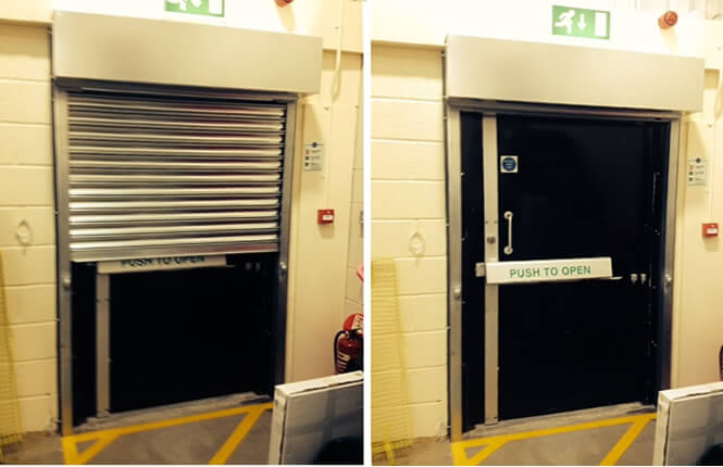 RSG5000 commercial shutter providing security on a fire escape in an office in Mitcham.