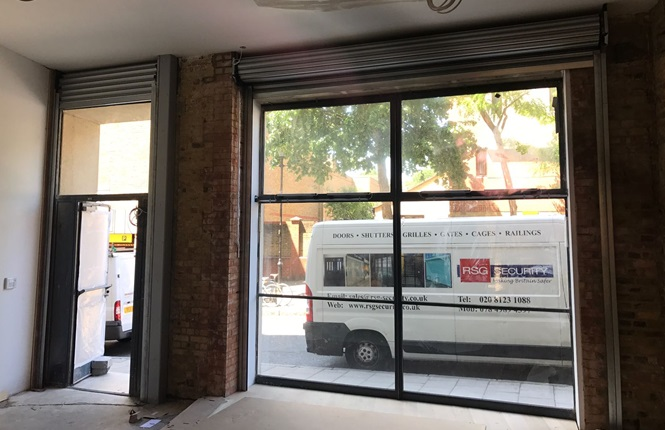 RSG5600 security shutters fitted to office fronts in Central London.