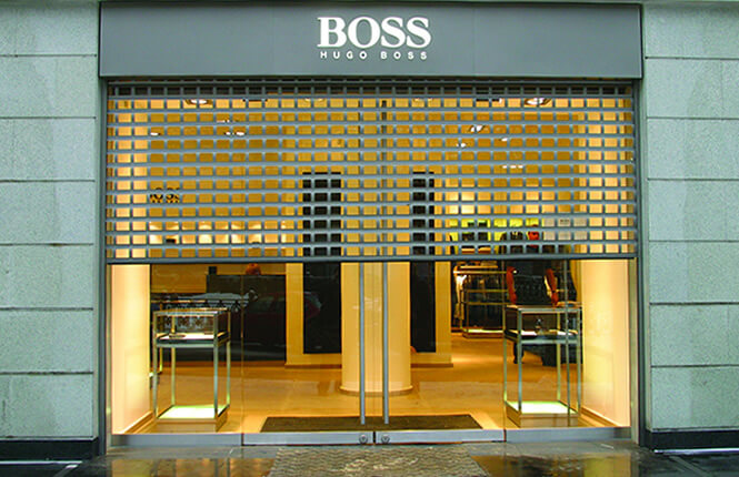 RSG5600 security roller shutter on Hugo Boss retail shop outlet in Central London.
