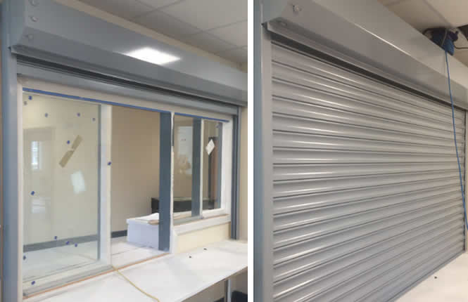 RSG5700 fire shutter protecting the reception area at Paxton Primary School in South London.