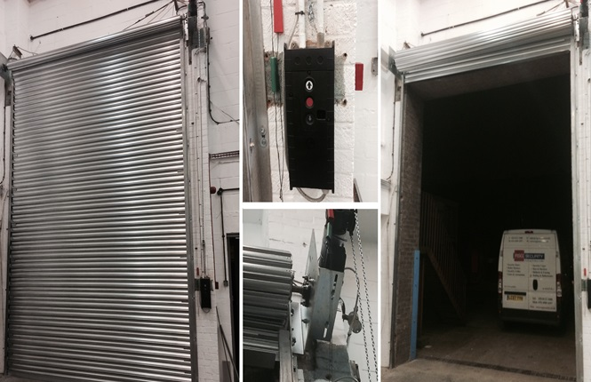 RSG6000 3-Phase industrial security shutter securing a commercial warehouse in Wimbledon.