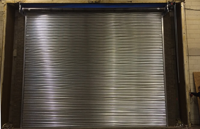 RSG6000 3-Phase industrial warehouse shutter, secured and closed..
