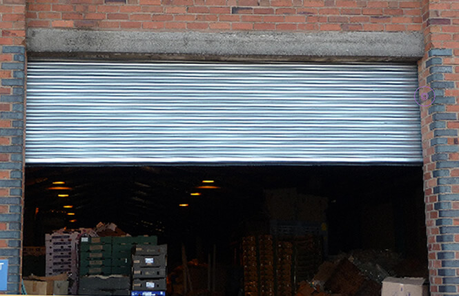 RSG6000 3-Phase shutter on a loading bay in Ealing, South London.
