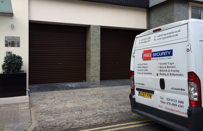 RSG7000 garage door shutters providing security to a company's garage in London.