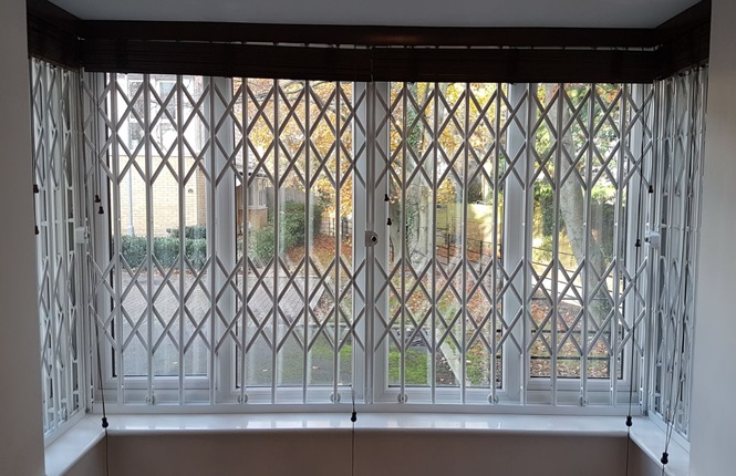 RSG1000 bay window security grilles installed to a house in New Malden.