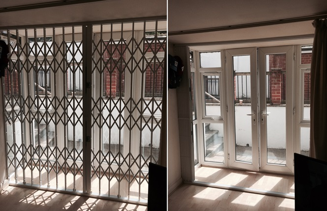 RSG1000 retractable security grilles fitted to a ground floor flat in South Norwood, Croydon.