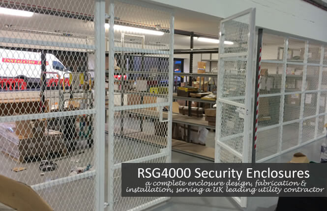 RSG4000 security enclosures with gates on industrial warehouse in Walthamstow.