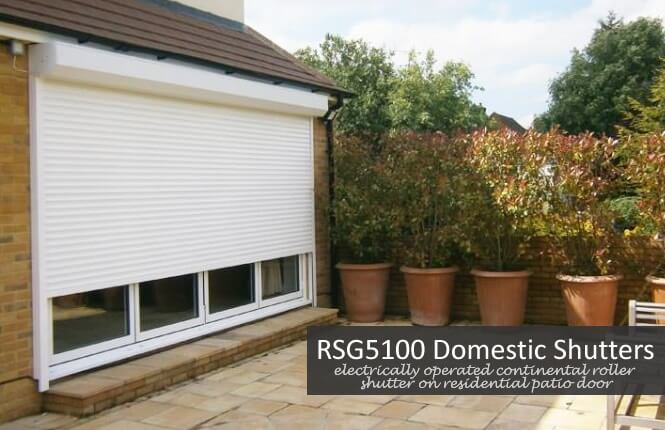 RSG5100 continental roller shutter fitted on a patio door at the rear of a domestic property in Kensington.