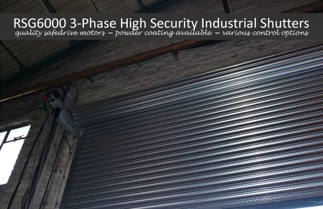 RSG6000 3-Phase security shutter in a commercial workshop in Hackney, North London.