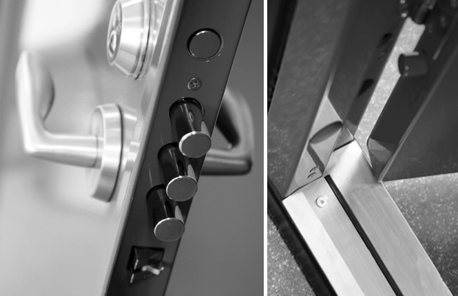 RSG8000 multilocking entry security door locking, dog-bolts and threshold details.