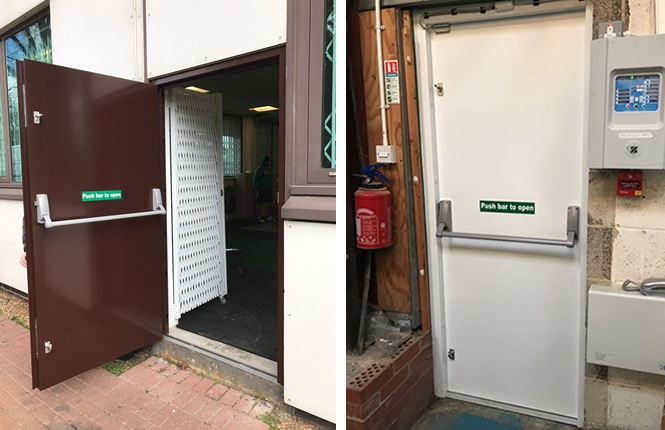RSG8100 fire exit security doors installed in Mitcham.