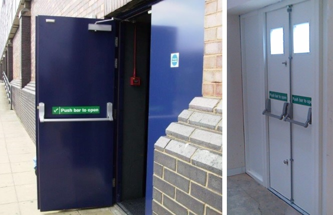 RSG8100 double fire exit doors on commercial projects.