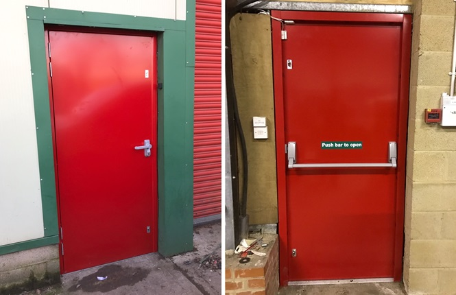 RSG8100 fire escape security door installed on a retail warehouse in Romsey H&shire. & RSG8100 - Fire Exit Doors Steel Escape Doors u0026 Emergency Panic Doors