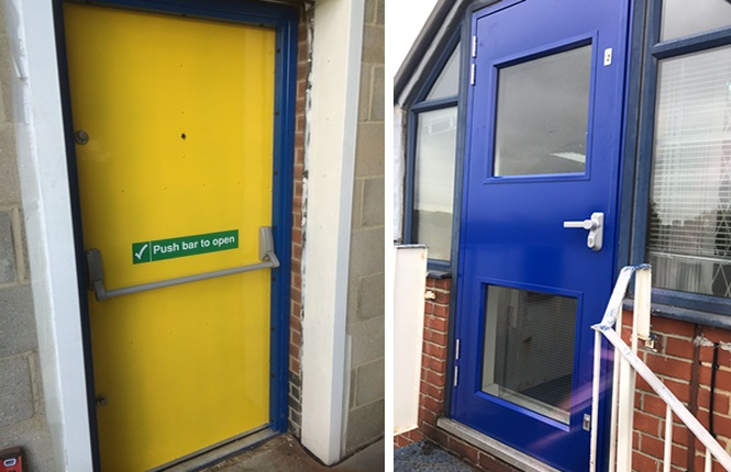 RSG8100 security exit doors fitted to commercial units in South London.