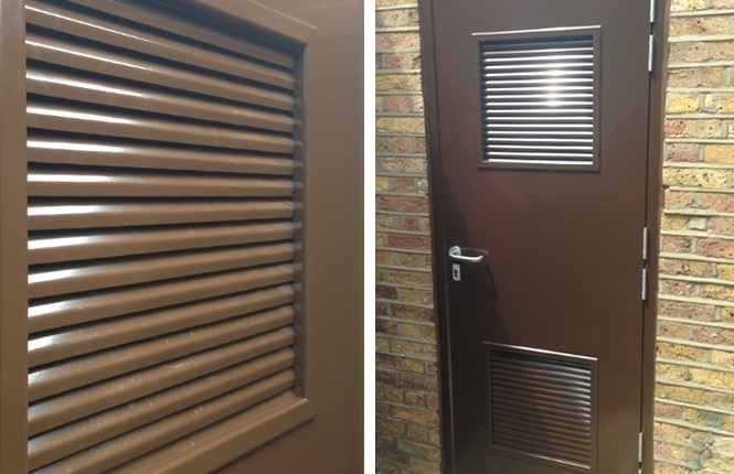 RSG8200 fire rated steel doors with fire block louvres, providing up to 4 hours smoke & fire protection.