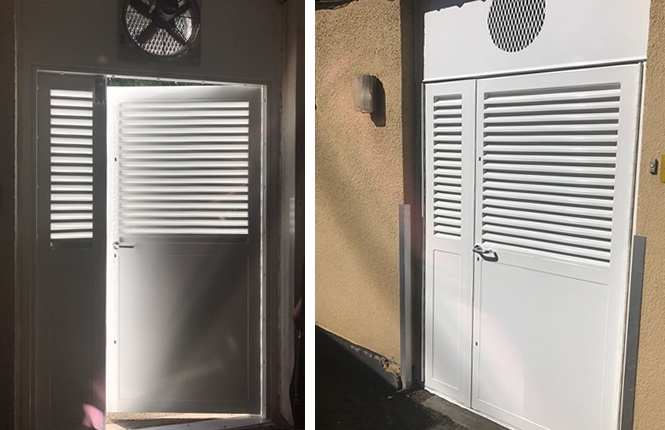 An in and out view of RSG8200 heavy duty fabricated louvred leaf and a half doorset ... & RSG8200 - Louvre Doors Steel Ventilated Doors u0026 Fully Louvred Doors