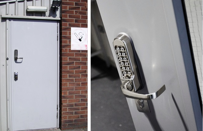 RSG8300 access control doorsets with mechanical code locks.