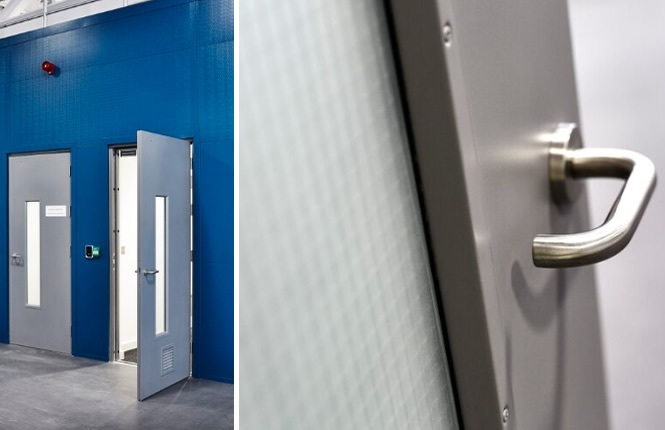 RSG8300 steel doors with built-in electric strike and access control system.