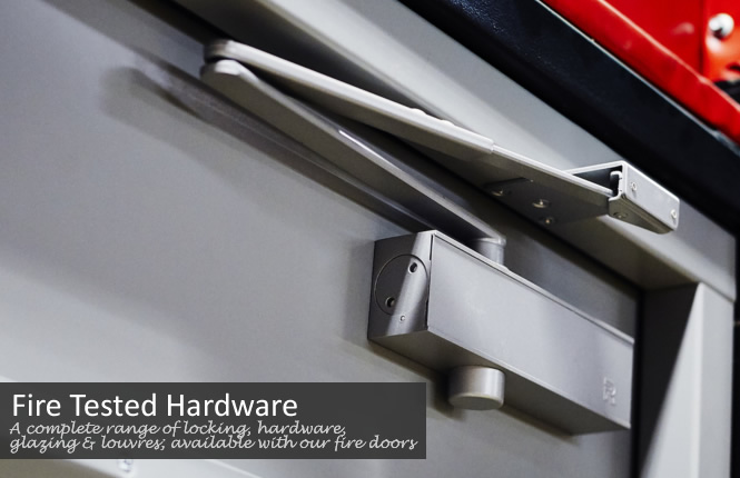 A complete range of tested locking, hardware, glazing & louvres for our fire steel doors.
